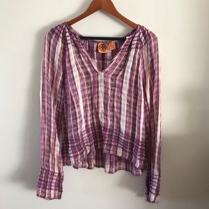 TORY BURCH | Linen Plaid Blouse Peasant Top M Boho